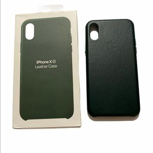Forest Green Leather iPhone XS case